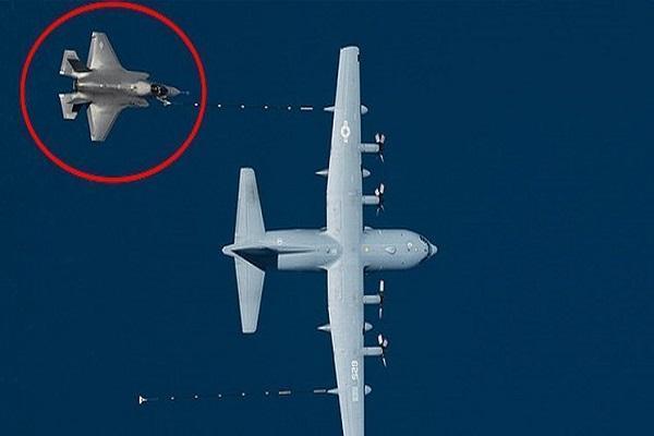 سقوط جنگنده اف-35 و هواپیمای سوخت گیری هرکولس در کالیفرنیا